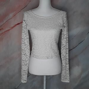 ABERCROMBIE & FITCH Cream Lace Sheer Crop Top
